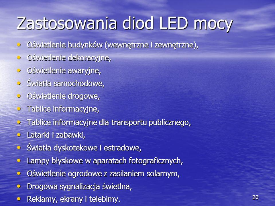 20 Zastosowania diod LED mocy Oświetlenie budynków (wewnętrzne i zewnętrzne), Oświetlenie budynków (wewnętrzne i zewnętrzne), Oświetlenie dekoracyjne,
