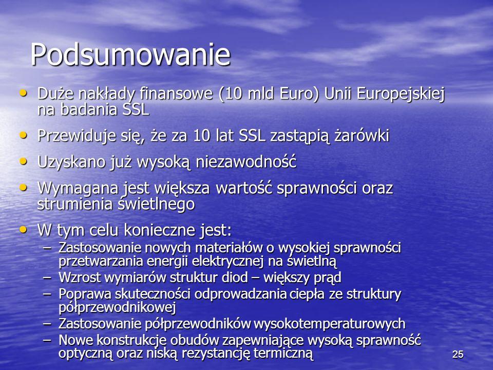 25 Podsumowanie Duże nakłady finansowe (10 mld Euro) Unii Europejskiej na badania SSL Duże nakłady finansowe (10 mld Euro) Unii Europejskiej na badani