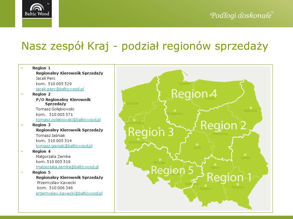 Nasz zespół Kraj - podział regionów sprzedaży Region 1 Regionalny Kierownik Sprzedaży Jacek Perc kom. 510 005 529 jacek.perc@balticwood.pl Region 2 P/