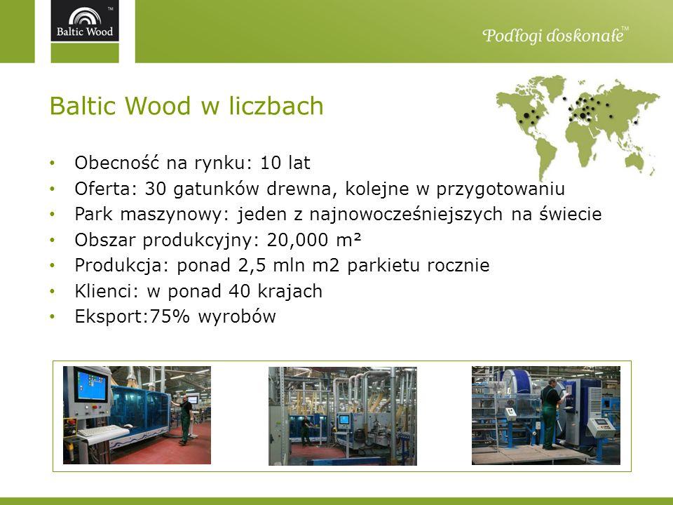Baltic Wood w liczbach Obecność na rynku: 10 lat Oferta: 30 gatunków drewna, kolejne w przygotowaniu Park maszynowy: jeden z najnowocześniejszych na ś