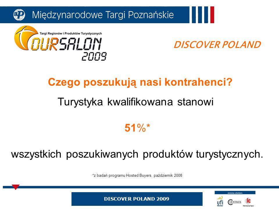 DISCOVER POLAND 2009 DISCOVER POLAND Czego poszukują nasi kontrahenci? Turystyka kwalifikowana stanowi 51%* wszystkich poszukiwanych produktów turysty