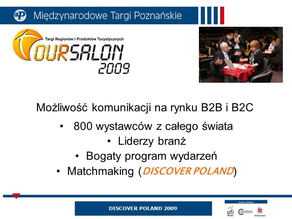 Możliwość komunikacji na rynku B2B i B2C 800 wystawców z całego świata Liderzy branż Bogaty program wydarzeń Matchmaking ( ) DISCOVER POLAND 2009 DISCOVER POLAND