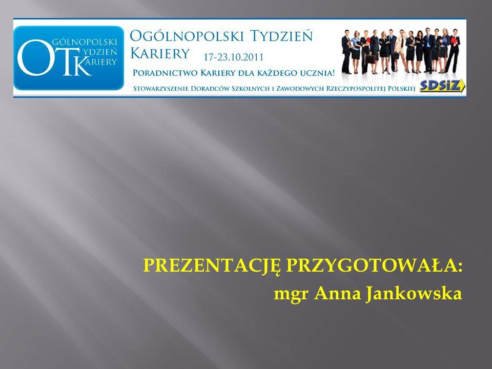 PREZENTACJĘ PRZYGOTOWAŁA: mgr Anna Jankowska