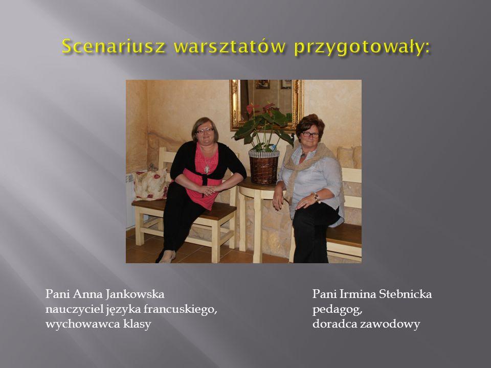 Pani Anna Jankowska nauczyciel języka francuskiego, wychowawca klasy Pani Irmina Stebnicka pedagog, doradca zawodowy