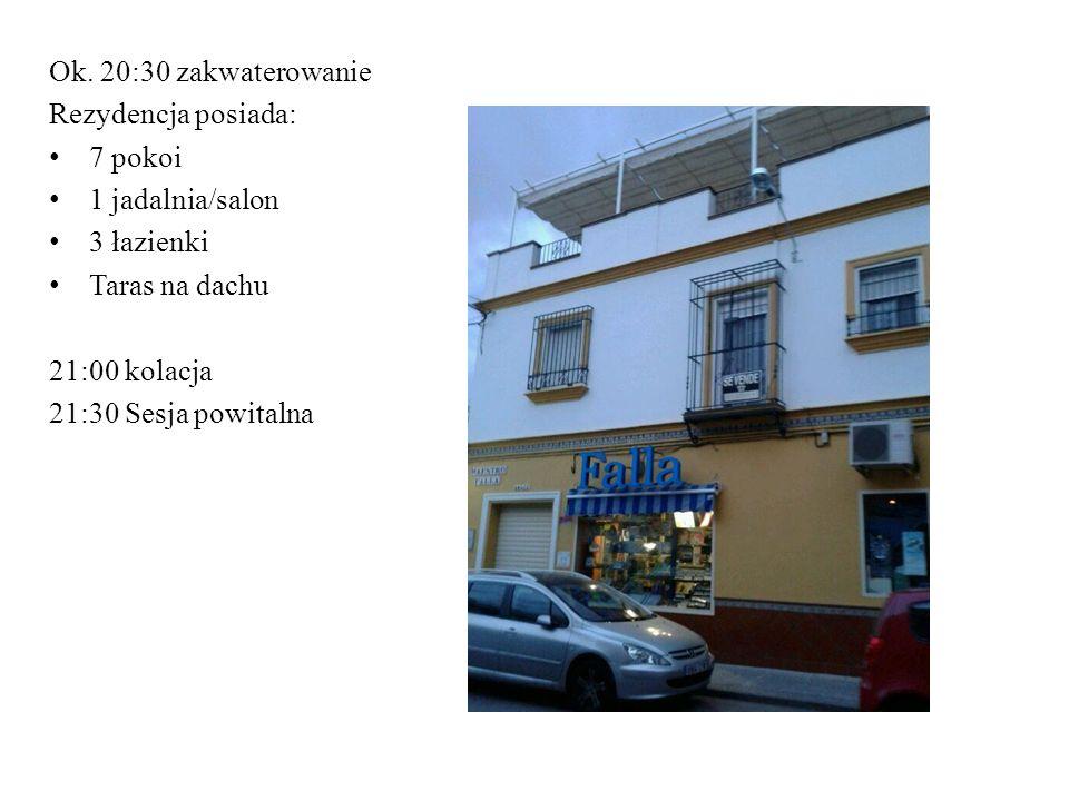Ok. 20:30 zakwaterowanie Rezydencja posiada: 7 pokoi 1 jadalnia/salon 3 łazienki Taras na dachu 21:00 kolacja 21:30 Sesja powitalna