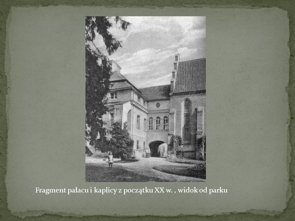 Fragment pałacu i kaplicy z początku XX w., widok od parku