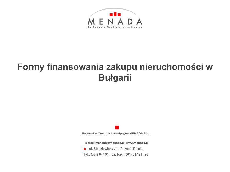 Click to edit the title text format 1 INFORMACJE WSTĘPNE NIERUCHOMOŚCI W BUŁGARII W UNIKALNEJ OFERCIE BCI MENADA PREZENTUJE ALTERNATYWNE FORMY FINANSOWANIA ZAKUPU NIERUCHOMOŚCI minimum skomplikowanych procedur minimum formalności Z przyjemnością prezentujemy niezwykłe warunki finansowania nieruchomości.