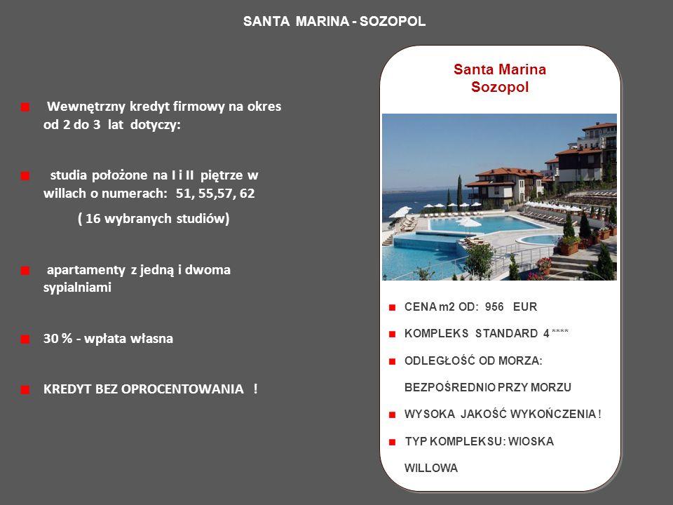 SANTA MARINA - SOZOPOL Santa Marina Sozopol Santa Marina Sozopol Wewnętrzny kredyt firmowy na okres od 2 do 3 lat dotyczy: studia położone na I i II piętrze w willach o numerach: 51, 55,57, 62 ( 16 wybranych studiów) apartamenty z jedną i dwoma sypialniami 30 % - wpłata własna KREDYT BEZ OPROCENTOWANIA .
