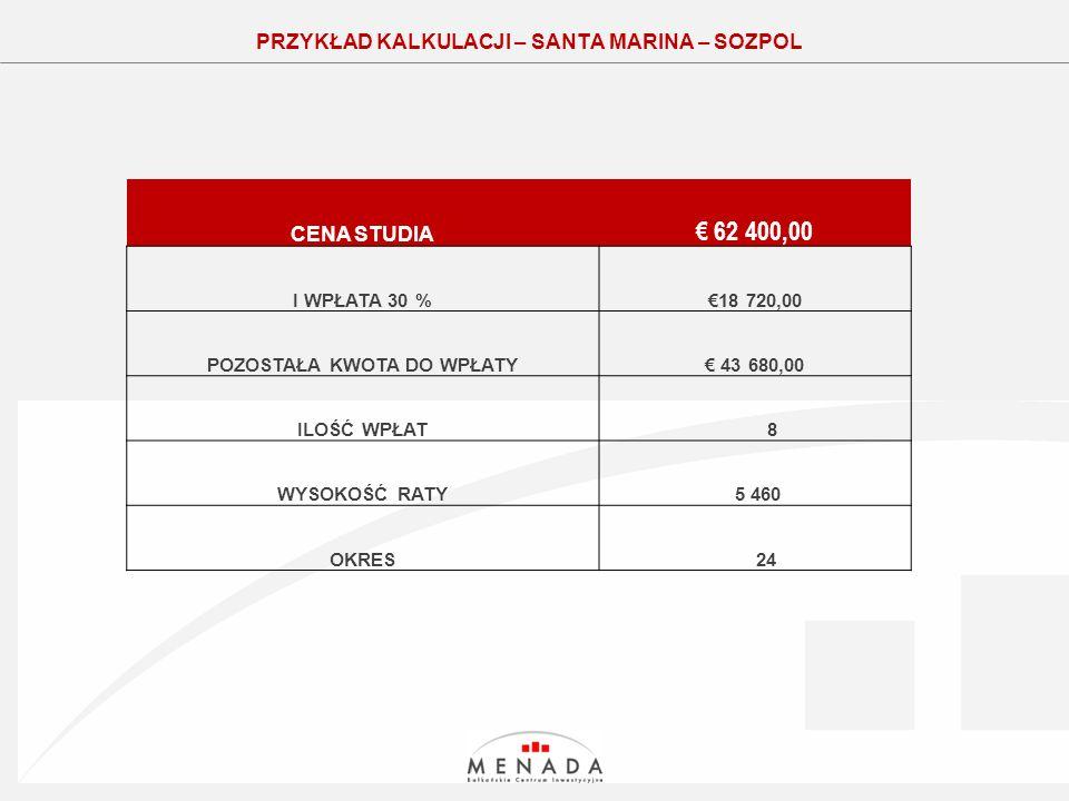 Click to edit the title text format PRZYKŁAD KALKULACJI – SANTA MARINA – SOZPOL CENA STUDIA 62 400,00 I WPŁATA 30 %18 720,00 POZOSTAŁA KWOTA DO WPŁATY 43 680,00 ILOŚĆ WPŁAT 8 WYSOKOŚĆ RATY 5 460 OKRES 24