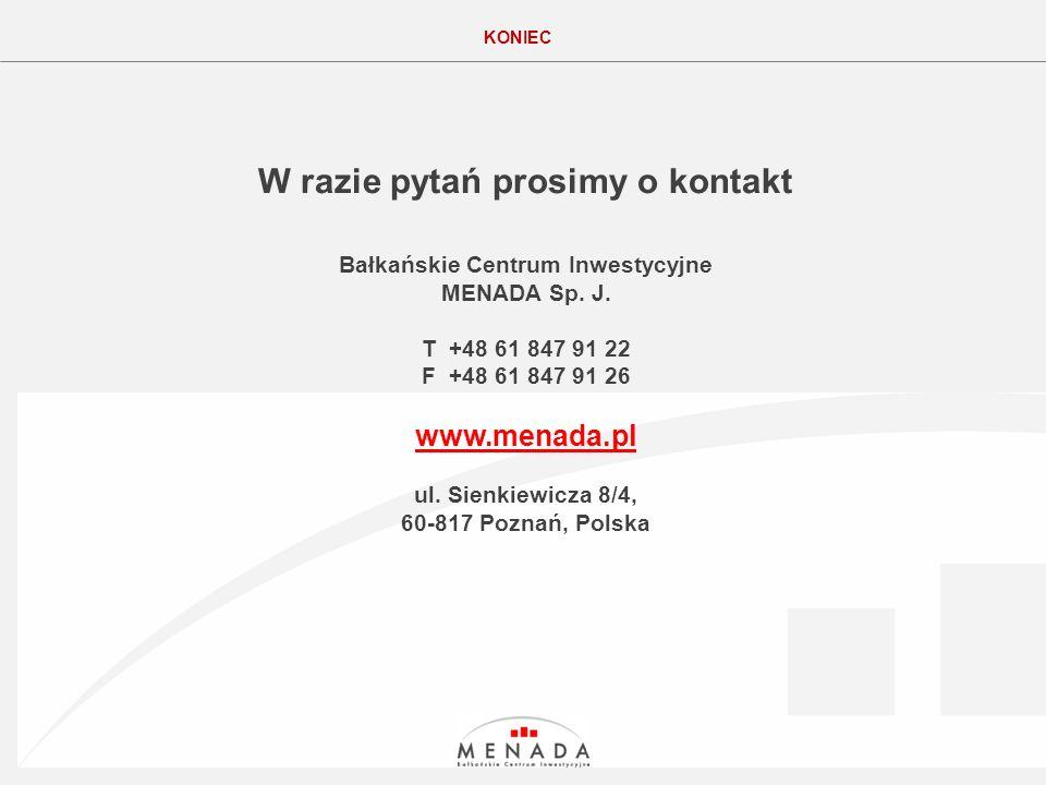 Click to edit the title text format KONIEC W razie pytań prosimy o kontakt Bałkańskie Centrum Inwestycyjne MENADA Sp.