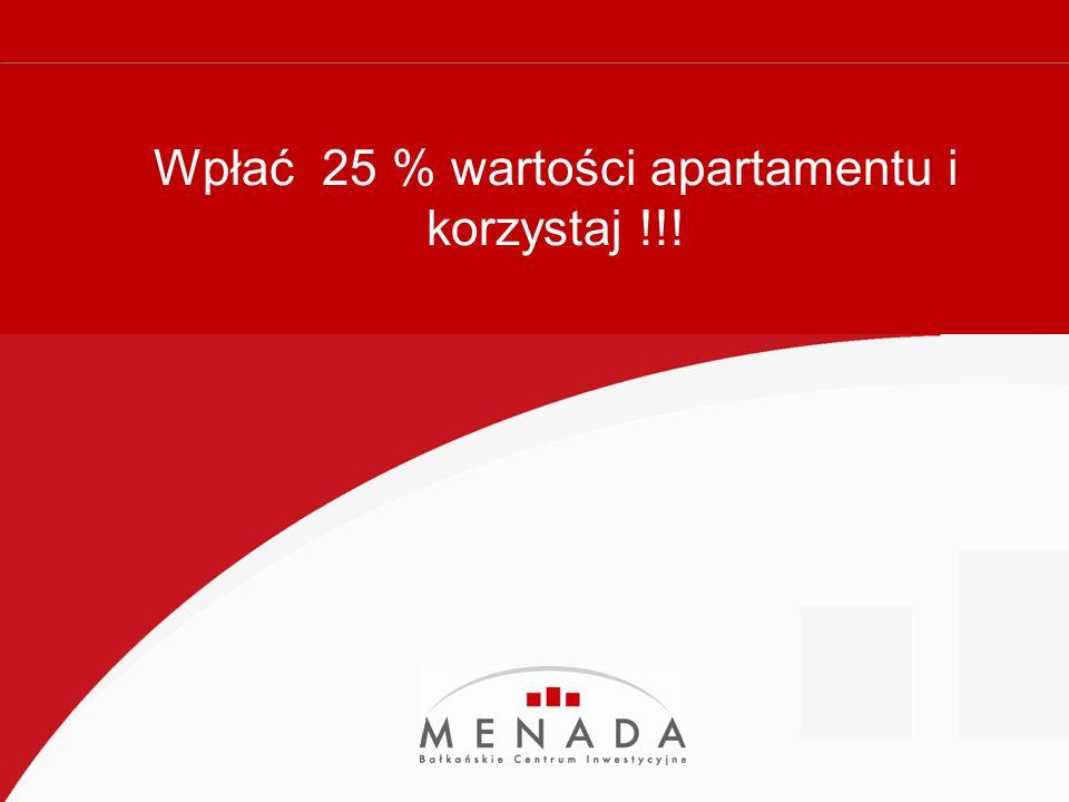 Royal Sun Słoneczny Brzeg Royal Sun Słoneczny Brzeg rozłożenie w czasie wpłaty na okres 3 lat przy oprocentowaniu rocznym 7 % rozłożenie w czasie spłaty na okres 5 lat przy oprocentowaniu 9 % minimum 25 % wpłaty własnej pozostała część rozłożona na raty na okres wybrany przez kupującego przy wpłacie już 25 % kupujący może korzystać z apartamentu przy wpłacie 25 % można dokonać przeniesienia własności przy założeniu, ze kupujący uiści całą kwotę VAT ( w BG VAT na nieruchomości PLAN PŁATNOŚCI CENA m2 OD: 1175 EUR KOMPLEKS STANDARD 4 **** UMEBLOWANIE: W CENIE ODLEGŁOŚĆ OD MORZA: TYLKO 300 m WYSOKA JAKOŚĆ WYKOŃCZENIA .