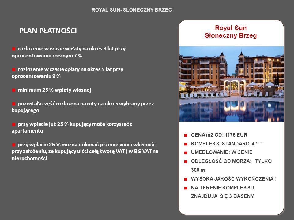 Click to edit the title text format Santa Marina, STUDIO B4 - WILLA 57 B TYP: STUDIO CENA: 63 400 EURO TERMIN ODDANIA: GOTOWE POW.