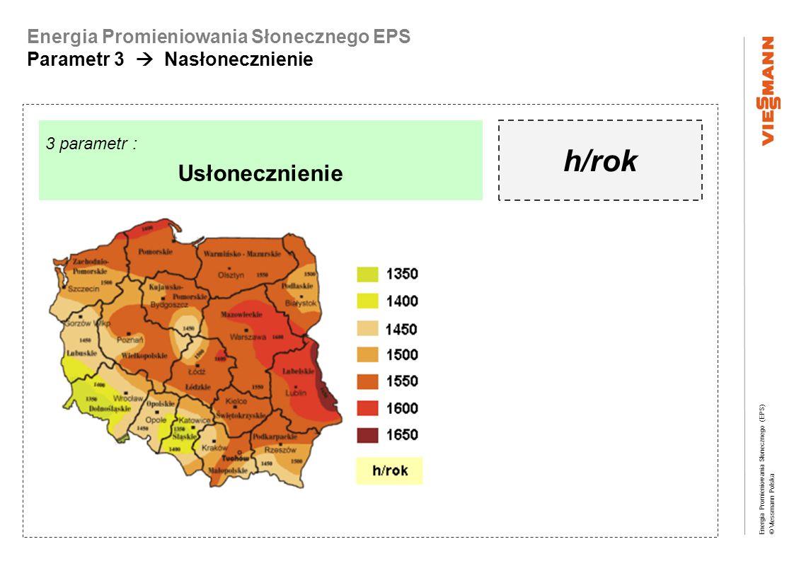 Energia Promieniowania Słonecznego (EPS) © Viessmann Polska Energia Promieniowania Słonecznego EPS Parametr 3 Nasłonecznienie 3 parametr : Usłonecznie