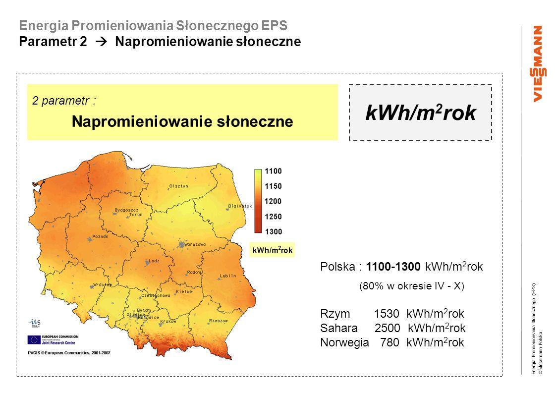 Energia Promieniowania Słonecznego (EPS) © Viessmann Polska Energia Promieniowania Słonecznego EPS Parametr 2 Napromieniowanie słoneczne źródło: Zeitung für Solarwärme 2007 2 parametr : Napromieniowanie słoneczne kWh/m 2 rok