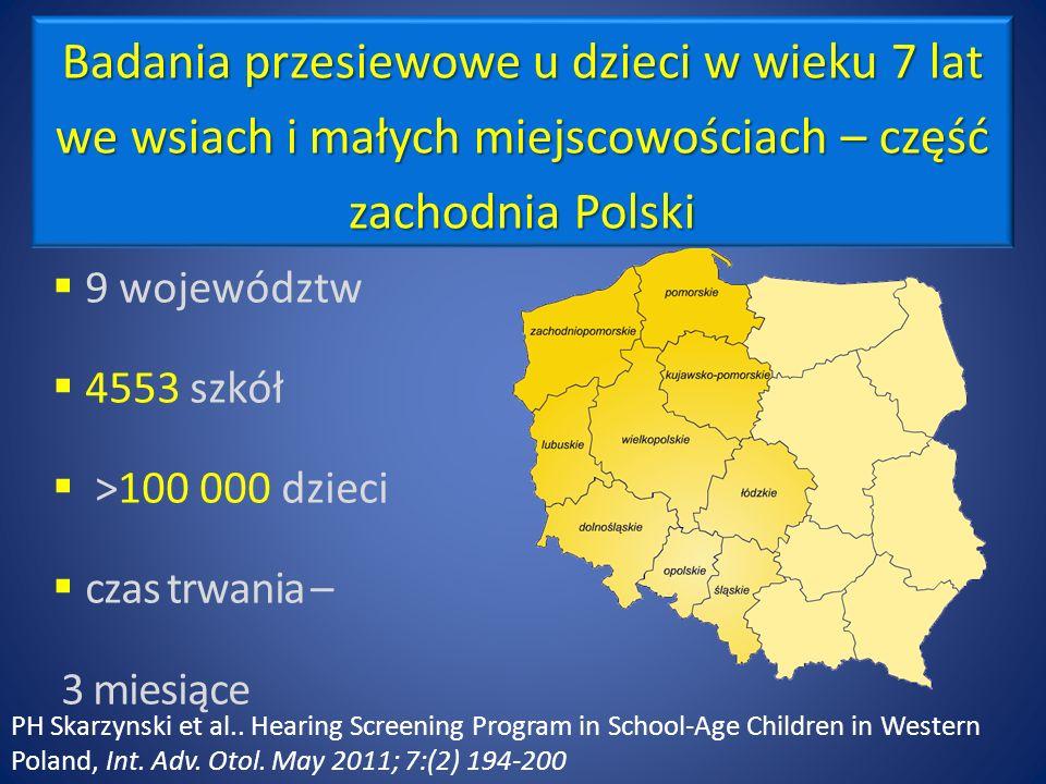 9 województw 4553 szkół >100 000 dzieci czas trwania – 3 miesiące Badania przesiewowe u dzieci w wieku 7 lat we wsiach i małych miejscowościach – część zachodnia Polski PH Skarzynski et al..