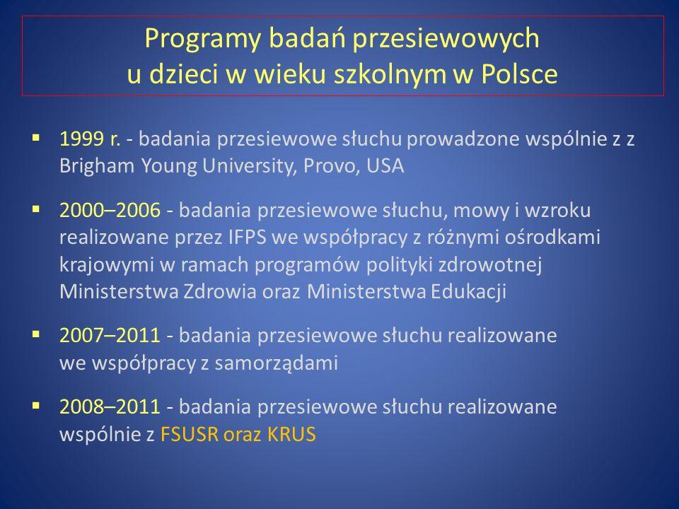 Programy badań przesiewowych u dzieci w wieku szkolnym w Polsce 1999 r.