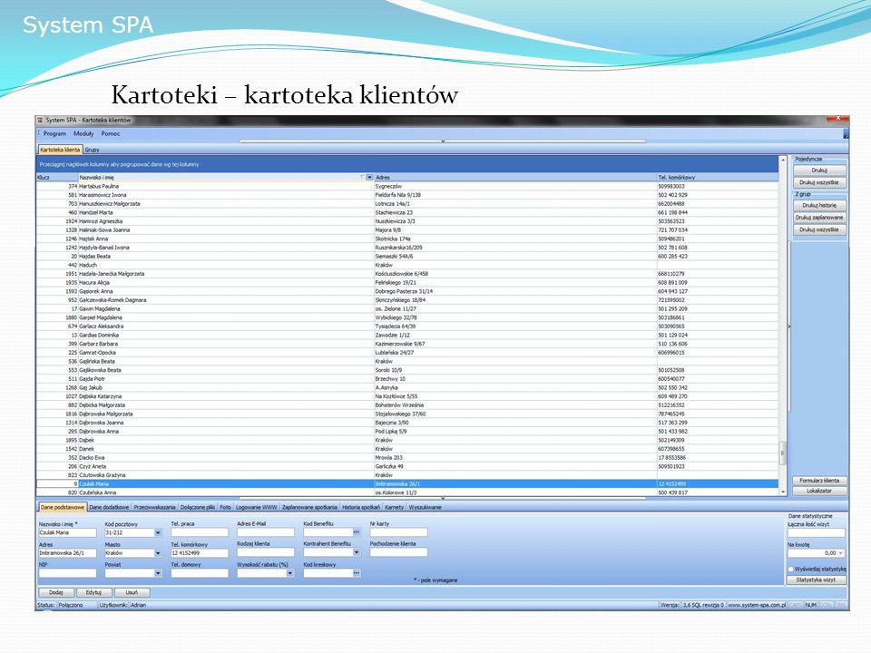 System SPA Kartoteki – kartoteka klientów