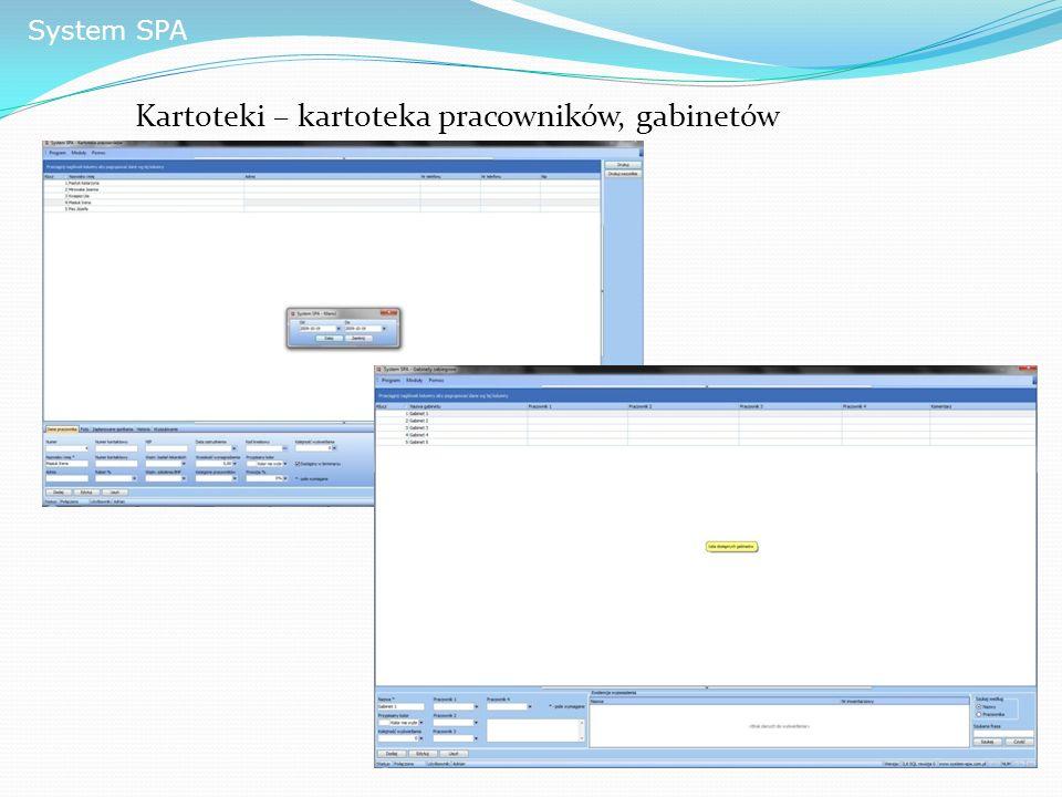 System SPA Kartoteki – kartoteka pracowników, gabinetów
