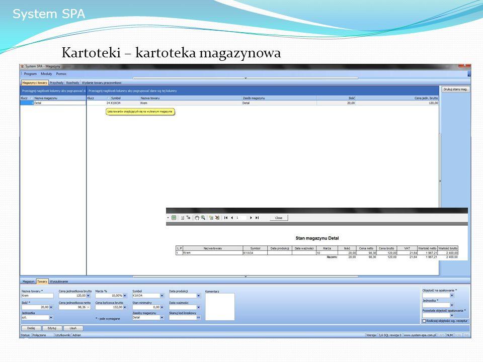 System SPA Kartoteki – kartoteka magazynowa