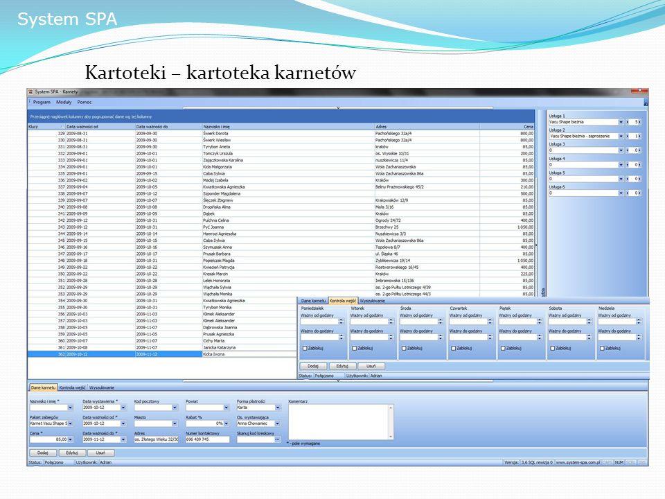 System SPA Kartoteki – kartoteka karnetów