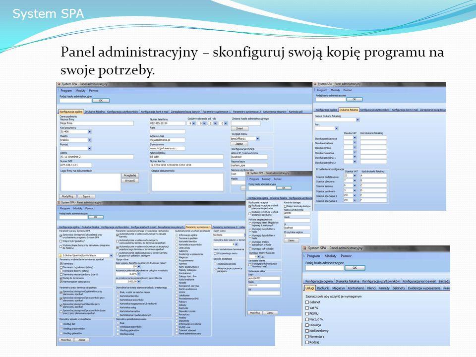 System SPA Panel administracyjny – skonfiguruj swoją kopię programu na swoje potrzeby.