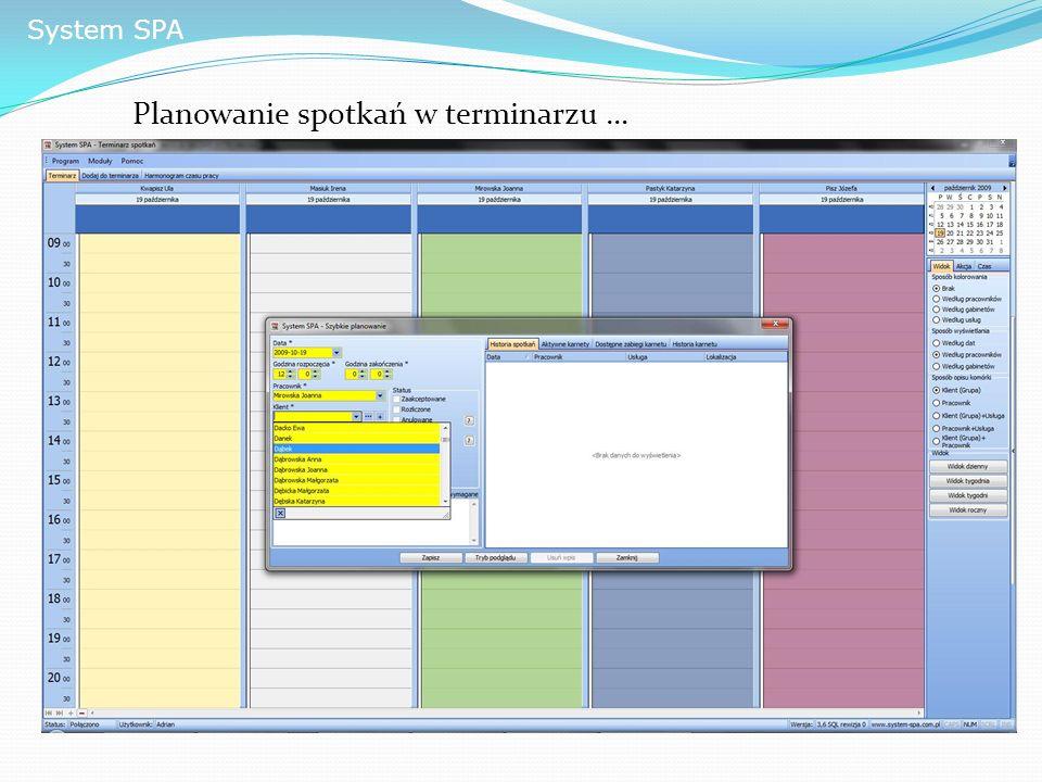 System SPA Planowanie spotkań w terminarzu …