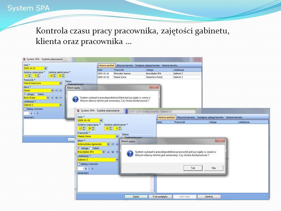 System SPA Kontrola czasu pracy pracownika, zajętości gabinetu, klienta oraz pracownika …