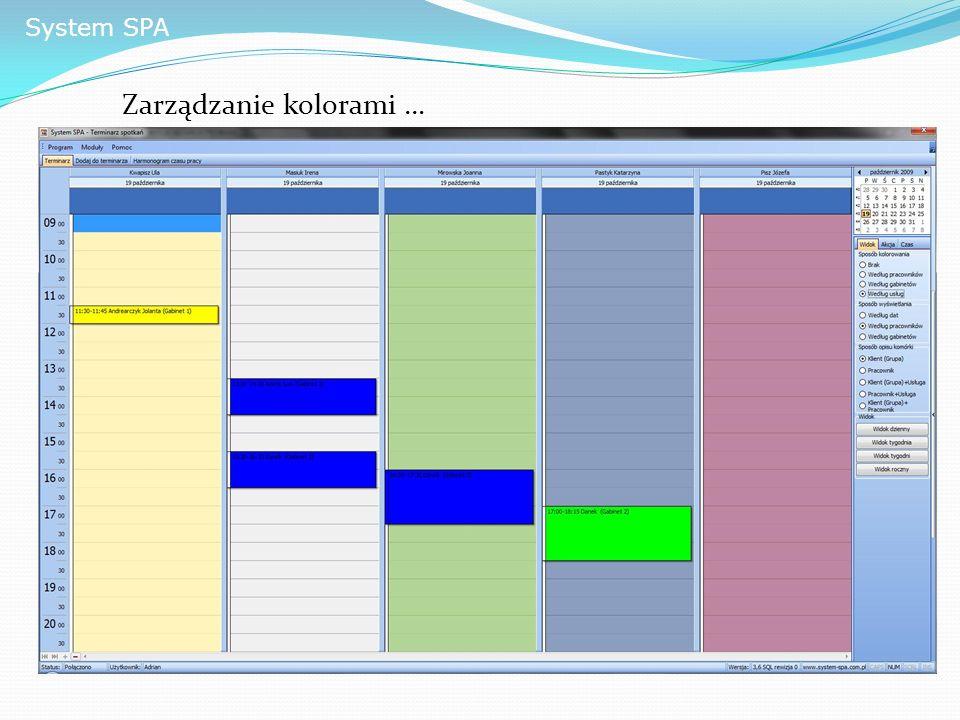 System SPA Zarządzanie kolorami …