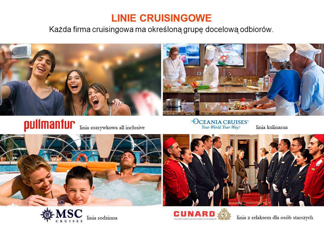 LINIE CRUISINGOWE Każda firma cruisingowa ma określoną grupę docelową odbiorów.