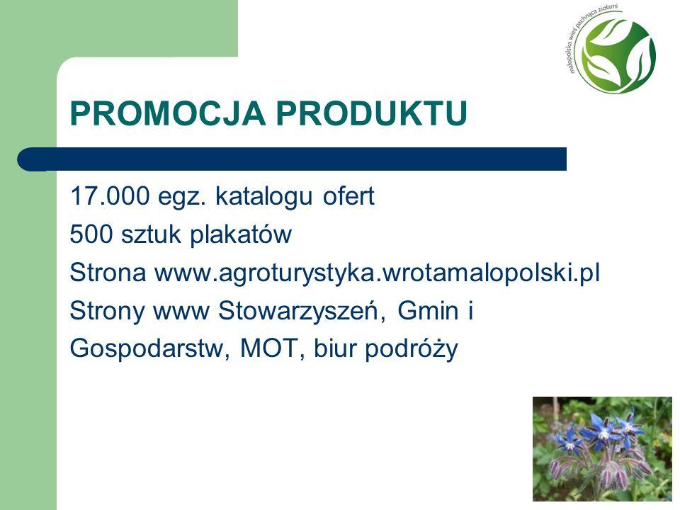PROMOCJA PRODUKTU 17.000 egz. katalogu ofert 500 sztuk plakatów Strona www.agroturystyka.wrotamalopolski.pl Strony www Stowarzyszeń, Gmin i Gospodarst