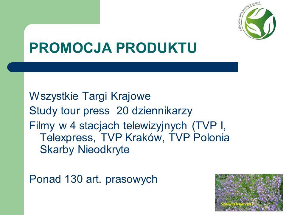 PROMOCJA PRODUKTU Wszystkie Targi Krajowe Study tour press 20 dziennikarzy Filmy w 4 stacjach telewizyjnych (TVP I, Telexpress, TVP Kraków, TVP Poloni