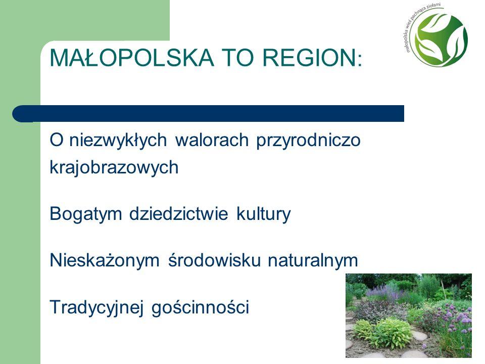 MAŁOPOLSKA TO REGION : O niezwykłych walorach przyrodniczo krajobrazowych Bogatym dziedzictwie kultury Nieskażonym środowisku naturalnym Tradycyjnej g