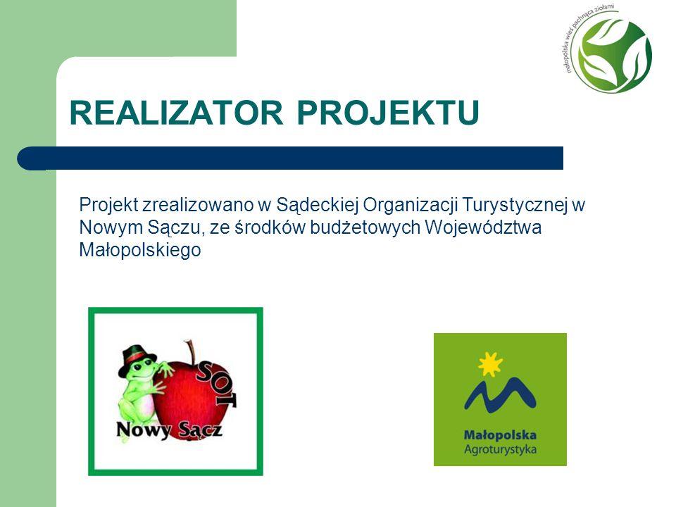 REALIZATOR PROJEKTU Projekt zrealizowano w Sądeckiej Organizacji Turystycznej w Nowym Sączu, ze środków budżetowych Województwa Małopolskiego