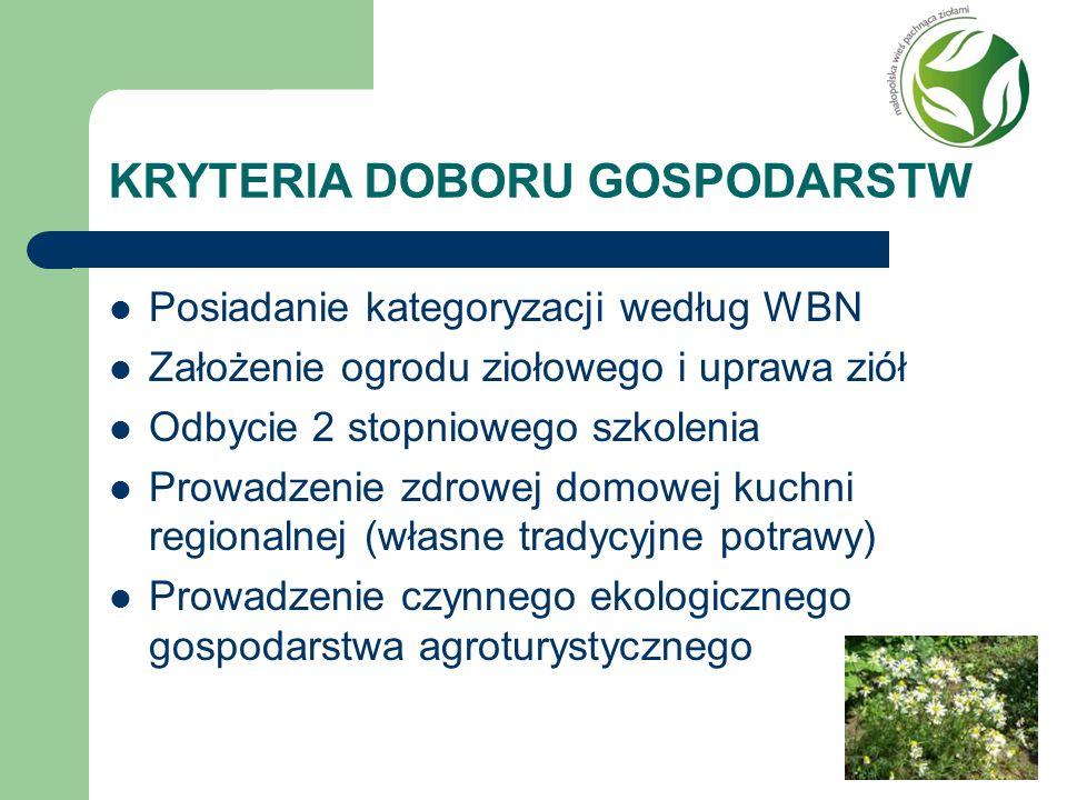 KRYTERIA DOBORU GOSPODARSTW Posiadanie kategoryzacji według WBN Założenie ogrodu ziołowego i uprawa ziół Odbycie 2 stopniowego szkolenia Prowadzenie z