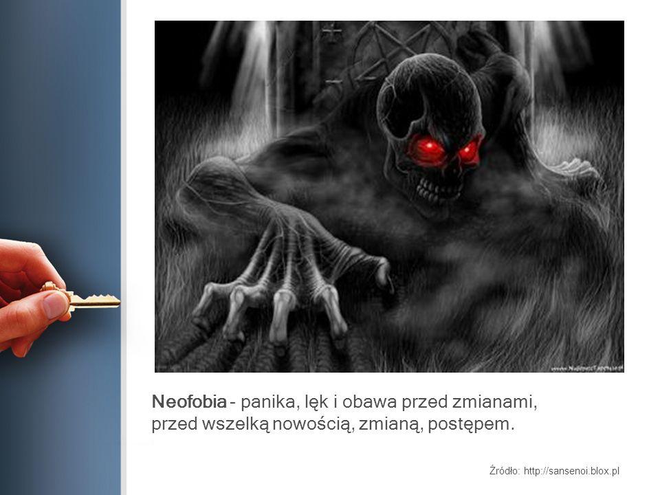 Neofobia - panika, lęk i obawa przed zmianami, przed wszelką nowością, zmianą, postępem. Źródło: http://sansenoi.blox.pl
