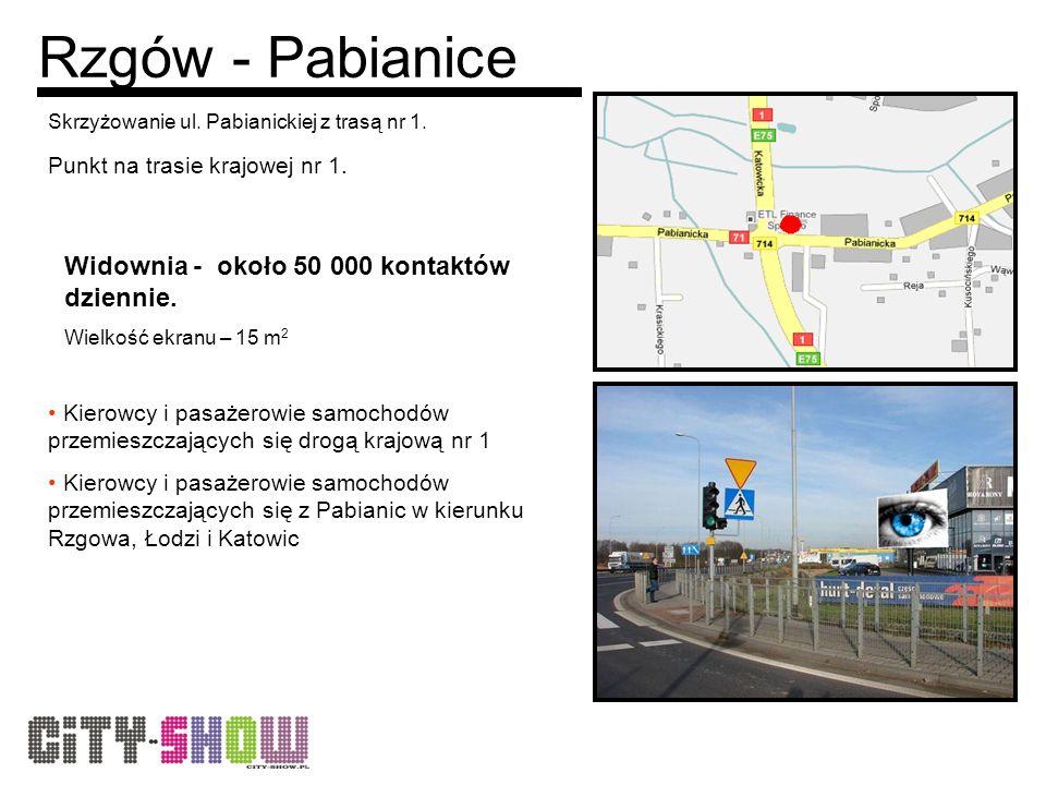 Rzgów - Pabianice Skrzyżowanie ul. Pabianickiej z trasą nr 1.