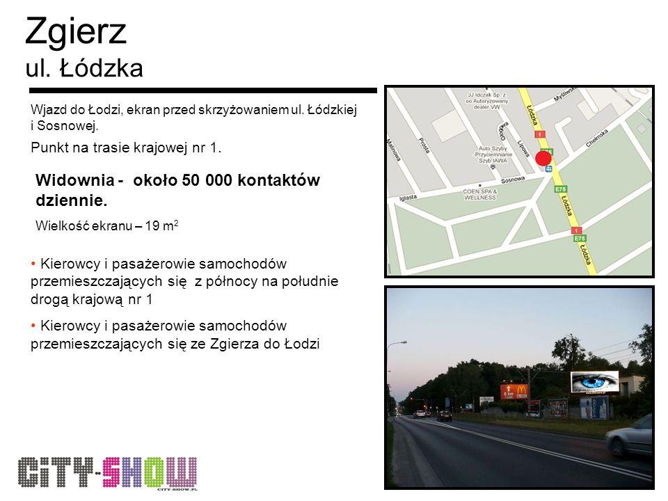 Zgierz ul. Łódzka Wjazd do Łodzi, ekran przed skrzyżowaniem ul.