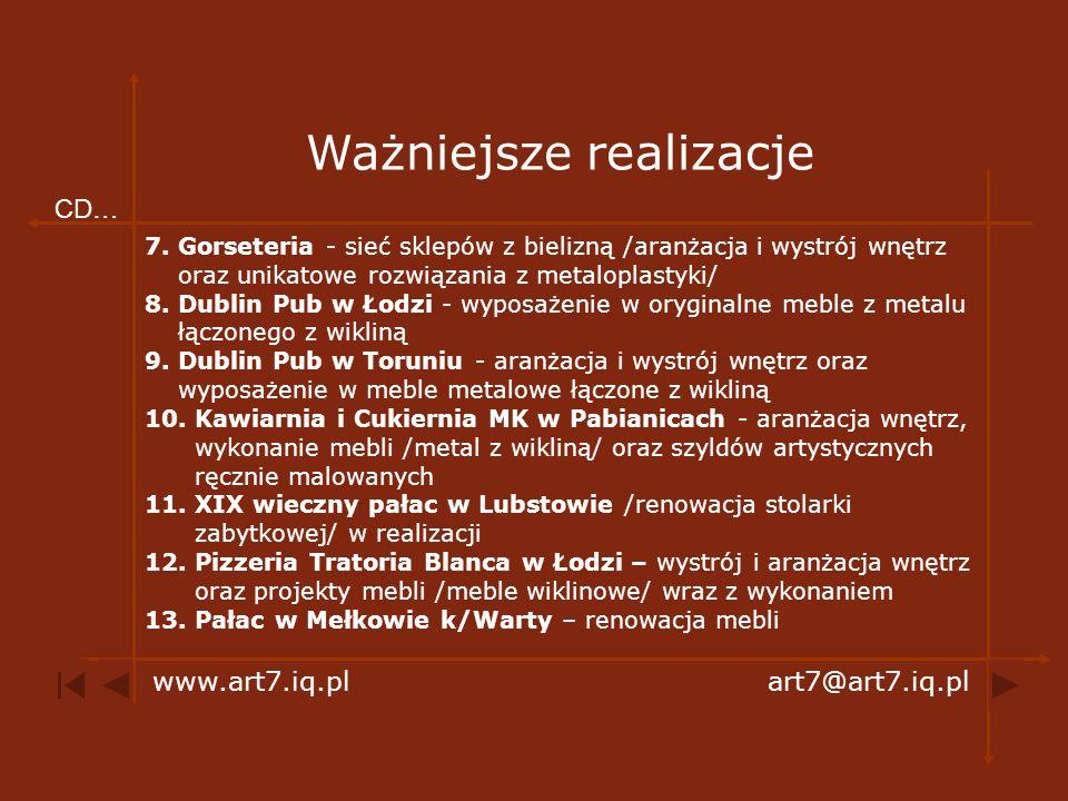 Wystrój i aranżacja wnętrz mieszkalnych i użytkowych www.art7.iq.plart7@art7.iq.pl Info