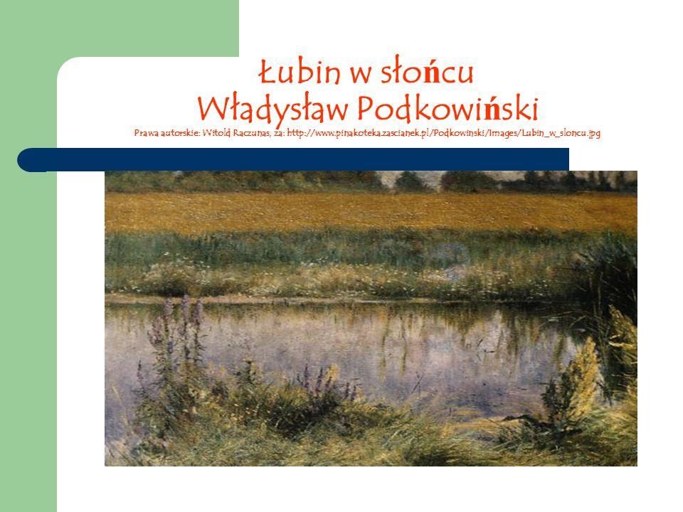 Łubin w sło ń cu Władysław Podkowi ń ski Prawa autorskie: Witold Raczunas, za: http://www.pinakoteka.zascianek.pl/Podkowinski/Images/Lubin_w_sloncu.jpg