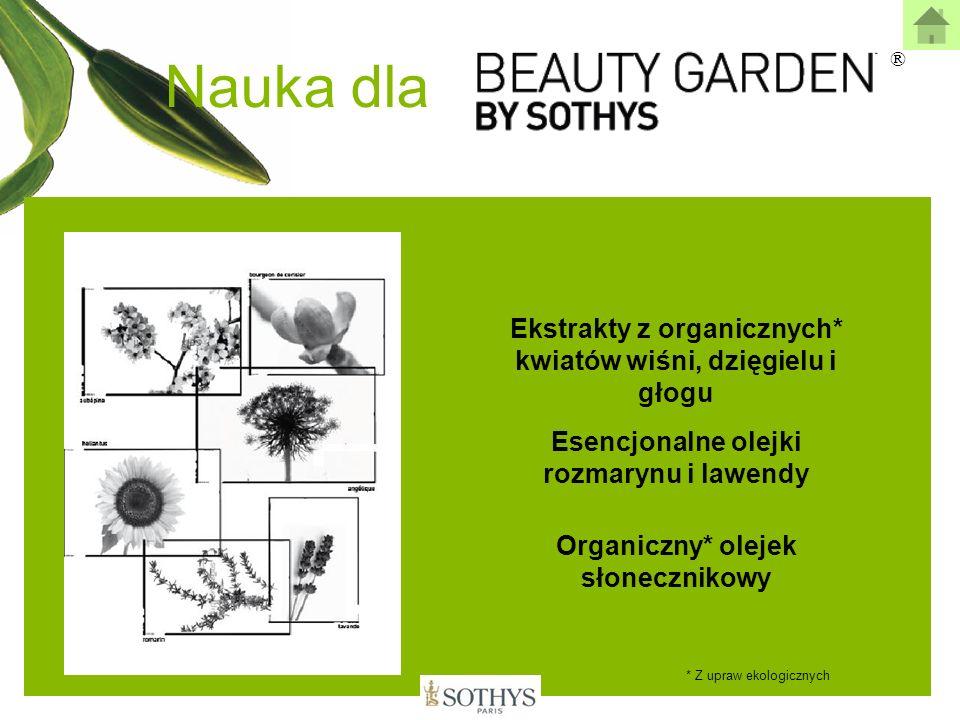 Nauka dla Ekstrakty z organicznych* kwiatów wiśni, dzięgielu i głogu Esencjonalne olejki rozmarynu i lawendy Organiczny* olejek słonecznikowy * Z upra