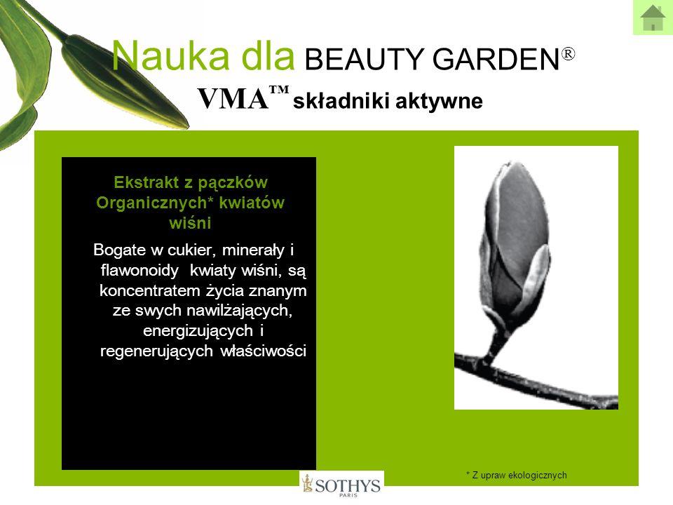Nauka dla BEAUTY GARDEN ® VMA składniki aktywne Ekstrakt z pączków Organicznych* kwiatów wiśni Bogate w cukier, minerały i flawonoidy kwiaty wiśni, są