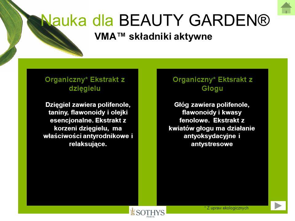 Nauka dla BEAUTY GARDEN® VMA składniki aktywne Organiczny* Ekstrakt z dzięgielu Organiczny* Ektsrakt z Głogu Dzięgiel zawiera polifenole, taniny, flaw