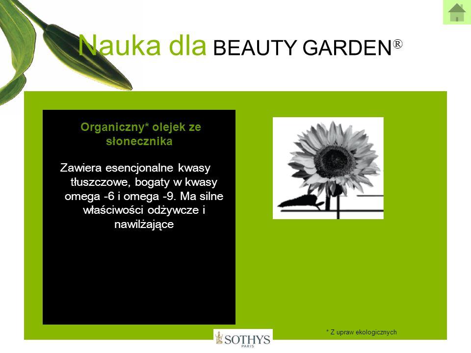Nauka dla BEAUTY GARDEN ® Organiczny* olejek ze słonecznika Zawiera esencjonalne kwasy tłuszczowe, bogaty w kwasy omega -6 i omega -9. Ma silne właści
