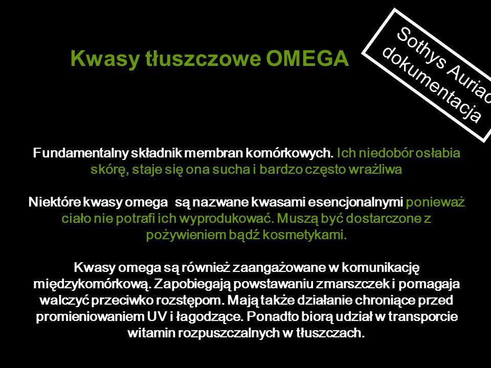 Kwasy tłuszczowe OMEGA Sothys Auriac dokumentacja Fundamentalny składnik membran komórkowych. Ich niedobór osłabia skórę, staje się ona sucha i bardzo