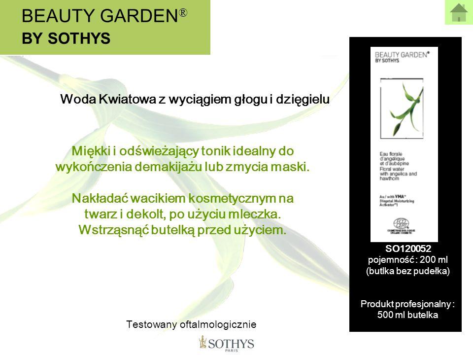 BEAUTY GARDEN ® BY SOTHYS Miękki i odświeżający tonik idealny do wykończenia demakijażu lub zmycia maski. Nakładać wacikiem kosmetycznym na twarz i de