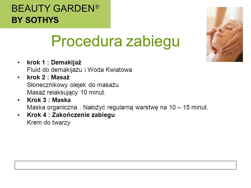 BEAUTY GARDEN ® BY SOTHYS Procedura zabiegu krok 1 : Demakijaż Fluid do demakijażu i Woda Kwiatowa krok 2 : Masaż Słonecznikowy olejek do masażu Masaż