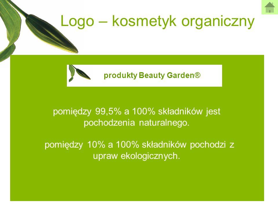 Logo – kosmetyk organiczny pomiędzy 99,5% a 100% składników jest pochodzenia naturalnego. pomiędzy 10% a 100% składników pochodzi z upraw ekologicznyc