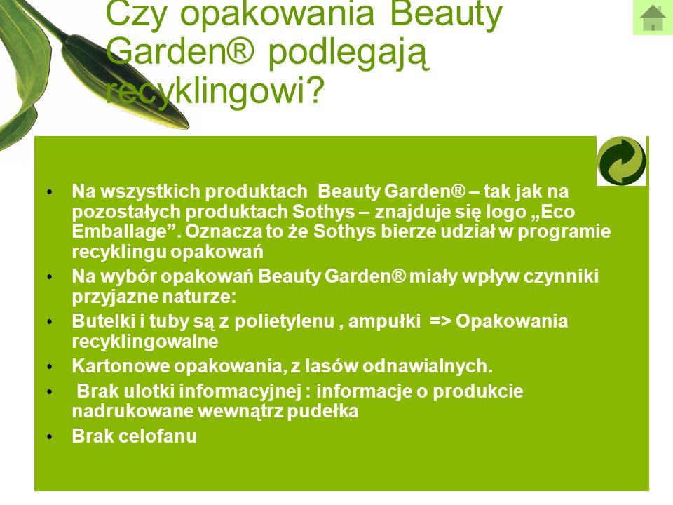 Czy opakowania Beauty Garden® podlegają recyklingowi? Na wszystkich produktach Beauty Garden® – tak jak na pozostałych produktach Sothys – znajduje si