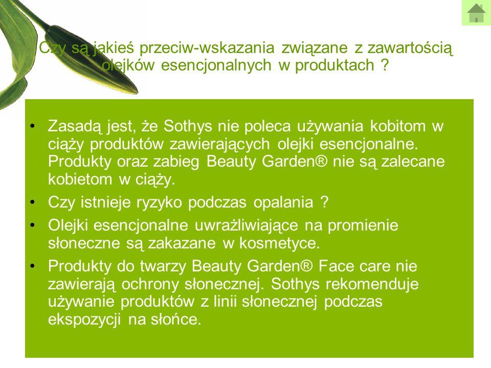 Czy są jakieś przeciw-wskazania związane z zawartością olejków esencjonalnych w produktach ? Zasadą jest, że Sothys nie poleca używania kobitom w ciąż