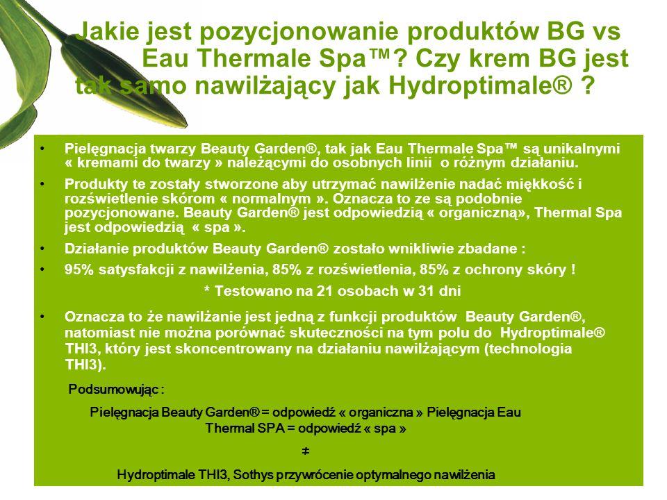 Jakie jest pozycjonowanie produktów BG vs Eau Thermale Spa? Czy krem BG jest tak samo nawilżający jak Hydroptimale® ? Pielęgnacja twarzy Beauty Garden